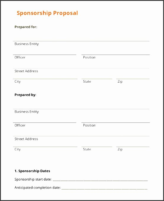Sponsorship form Template Word Luxury 10 event Proposal Printable Sampletemplatess