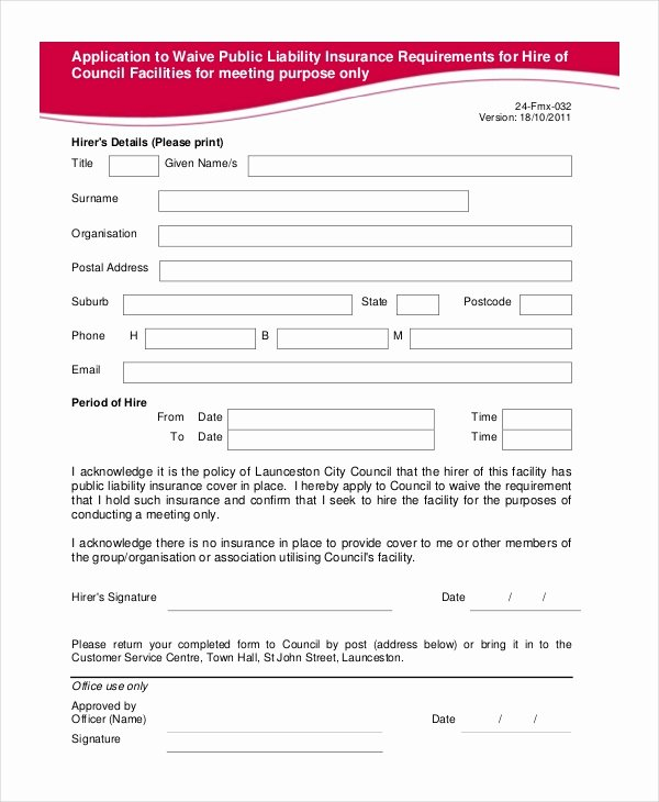 Sports Waiver form Template Awesome Group Fitness Waiver Template Australia All S