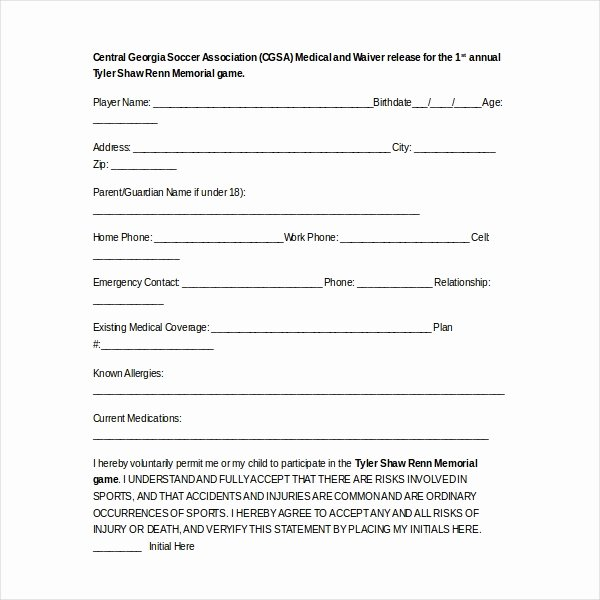Sports Waiver form Template Elegant Free 15 Sample Medical Waiver forms