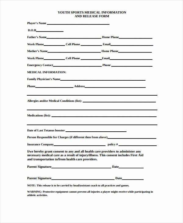 Sports Waiver form Template Inspirational Free 30 Free Medical Release forms