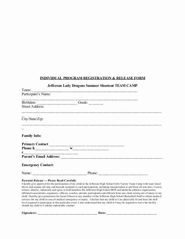 Sports Waiver form Template New 2015 Jhs Team Camp Registration and Waiver form Edited for