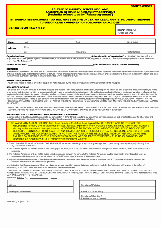 Sports Waiver form Template New Release Liability Waiver Claims assumption
