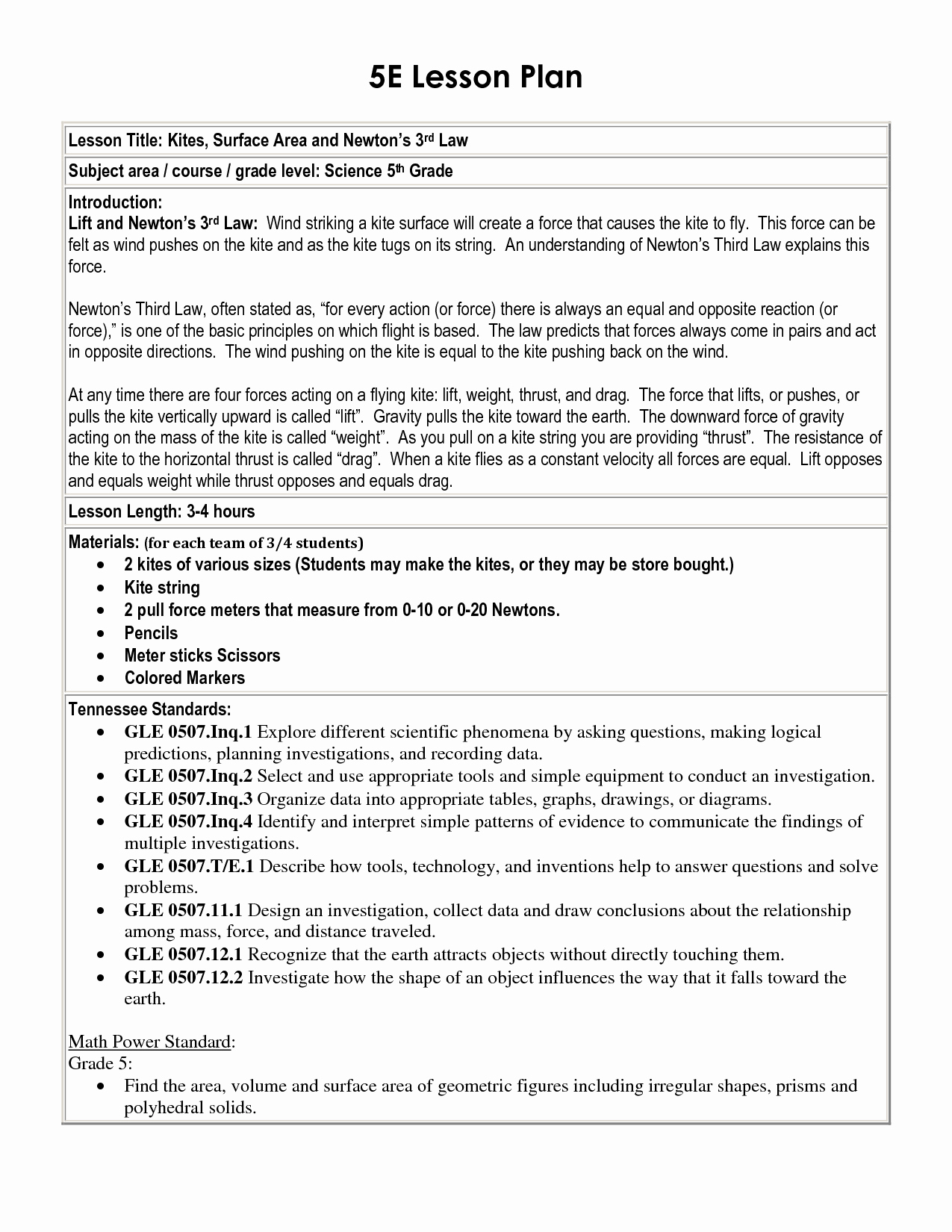 Standard Based Lesson Plan Template Beautiful 5 E Lesson Plan Template