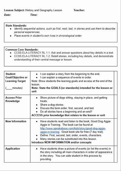 Standard Based Lesson Plan Template Best Of Mon Core History Lessons A Lesson Plan Template for