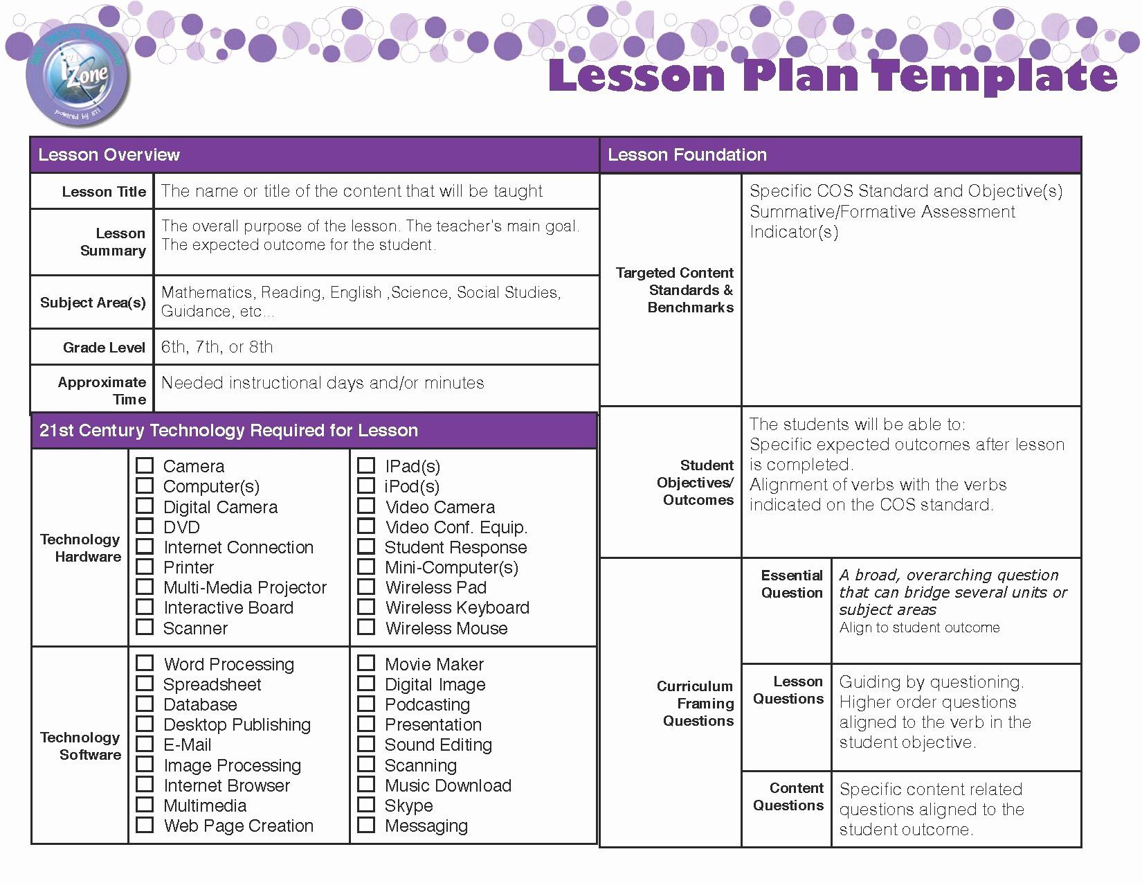 Standard Based Lesson Plan Template New Lesson Plan Template