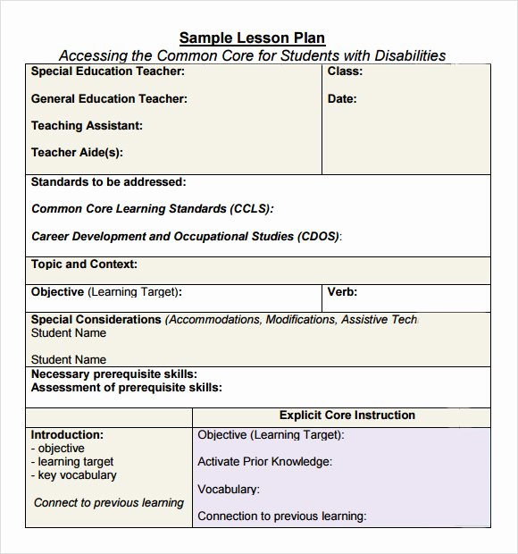Standard Lesson Plan Template Inspirational Free 7 Sample Mon Core Lesson Plan Templates In Google