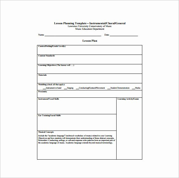 Standard Lesson Plan Template New Music Lesson Plan Template 8 Free Pdf Word format