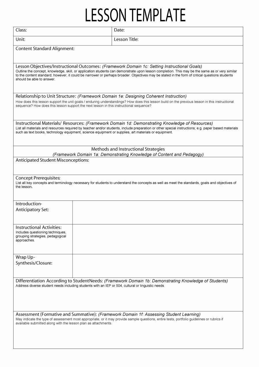 Standards Based Lesson Plan Template Best Of 44 Free Lesson Plan Templates [ Mon Core Preschool Weekly]
