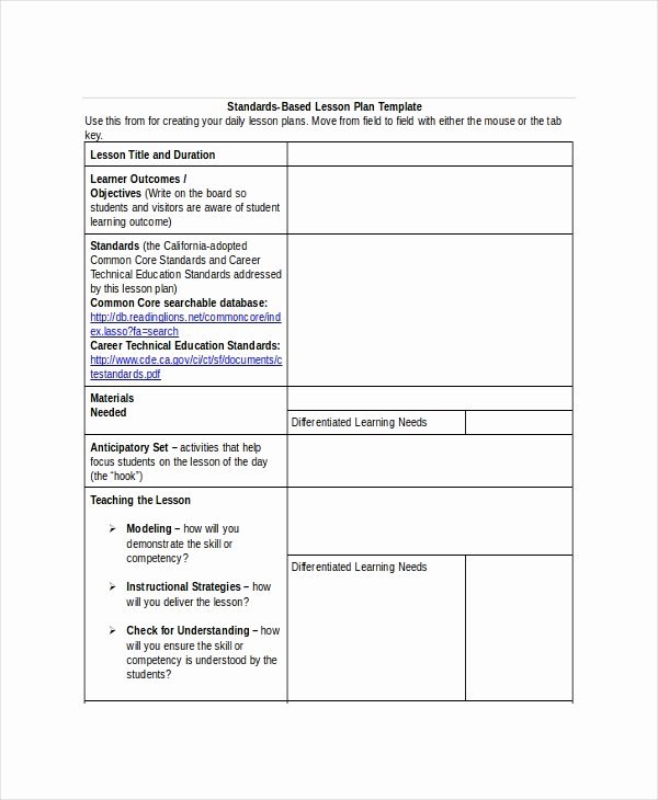 Standards Based Lesson Plan Template Fresh Lesson Plan Template 22 Free Word Pdf Documents