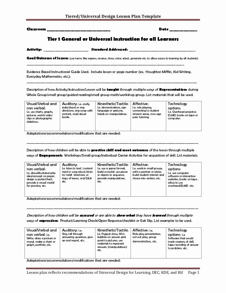 Standards Based Lesson Plan Template Unique Tiered Lesson Plan Template