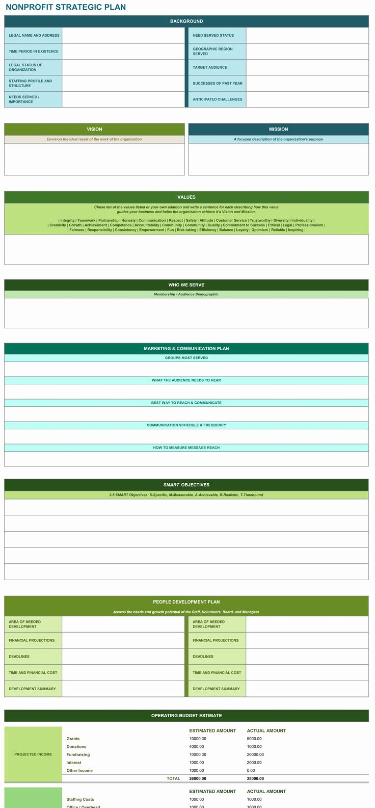 Strategic Planning Template Excel Lovely Non Profit Strategic Plan Excel Template