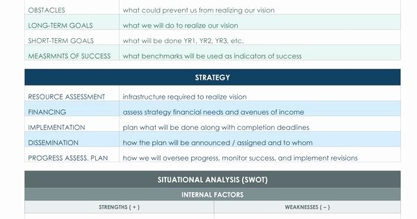 Strategic Planning Template Excel Unique One Page Strategic Plan Excel Template