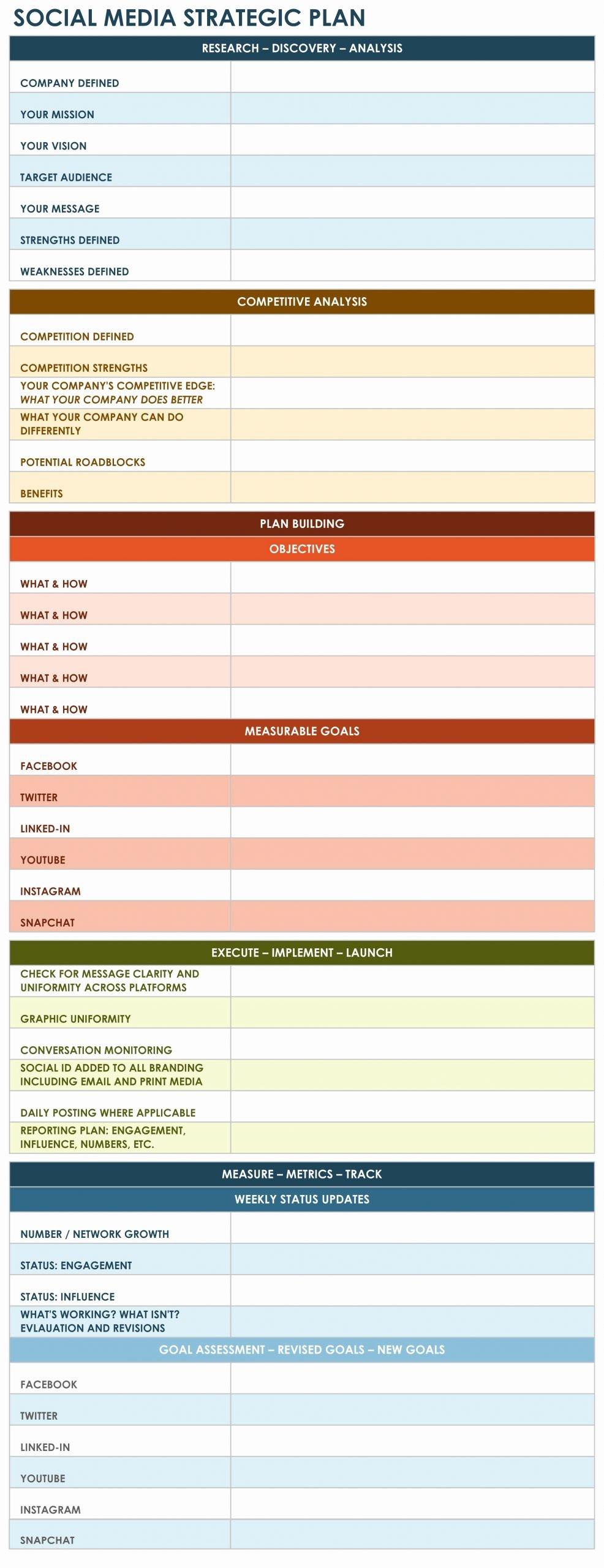 Strategic Planning Template Excel Unique social Media Strategic Plan Excel Template