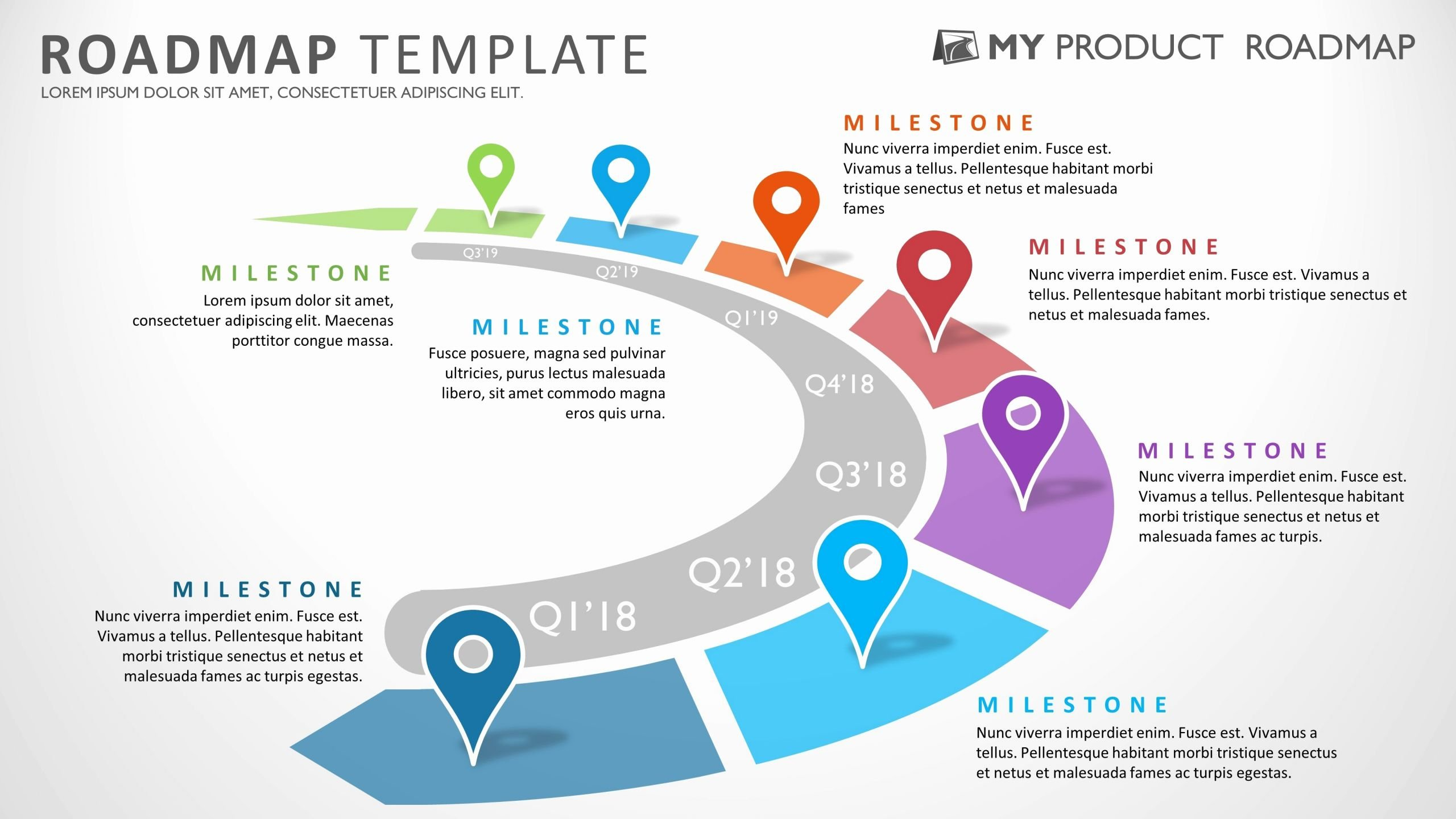 Strategy Plan Template Powerpoint Beautiful Seven Phase Strategic Product Timeline Roadmap Powerpoint