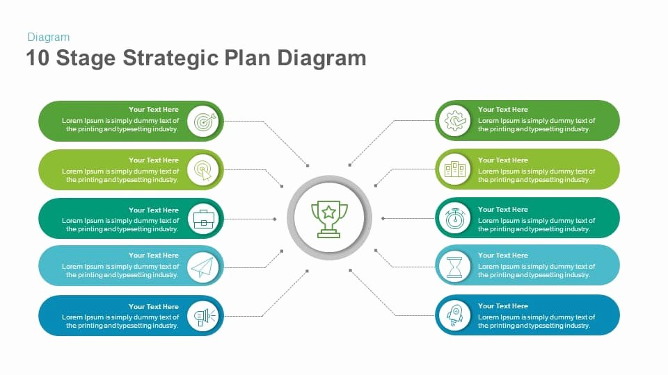 Strategy Plan Template Powerpoint Inspirational 10 Stage Strategic Plan Diagram Template for Powerpoint