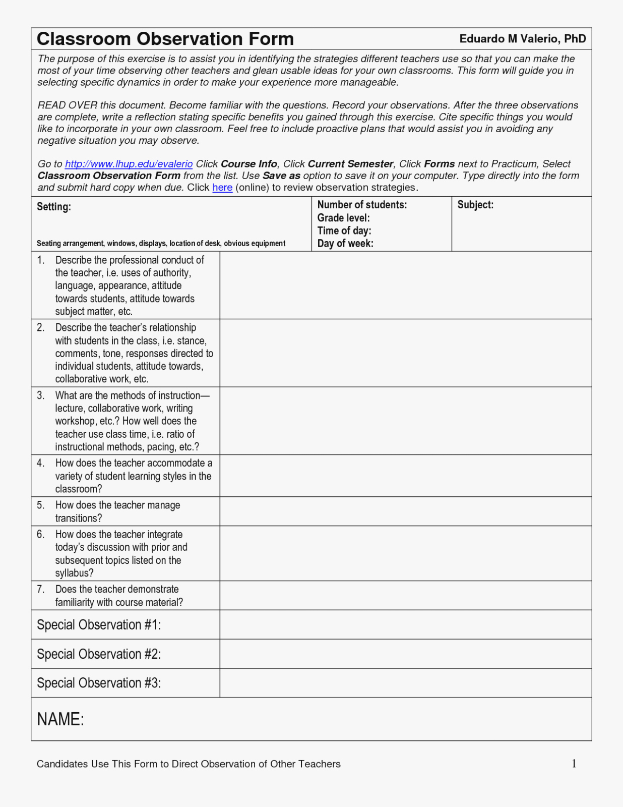 Student Observation form Template Unique How You Can attend Classroom