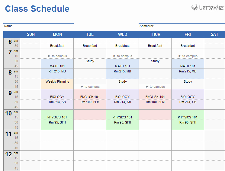 Student Weekly Schedule Template Beautiful Weekly Class Schedule Template for Excel