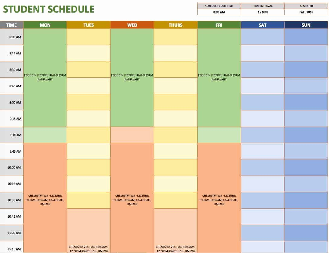 Student Weekly Schedule Template Fresh Free Weekly Schedule Templates for Excel Smartsheet