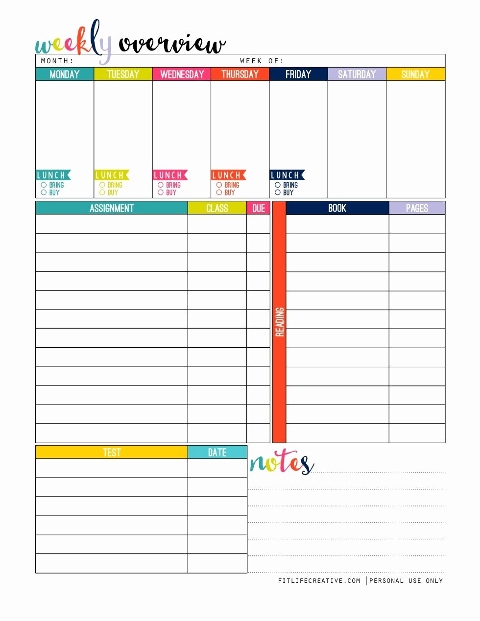 Student Weekly Schedule Template Fresh Weekly Overview Student Full Page