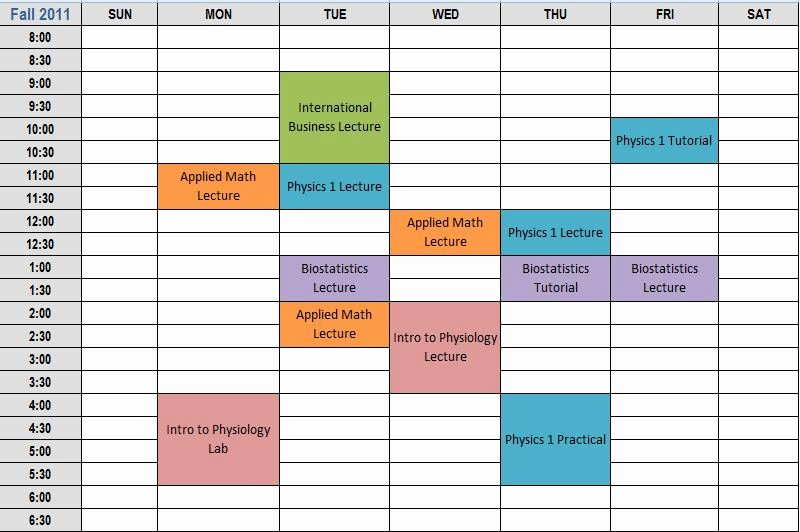 Student Weekly Schedule Template New College Schedule Planner