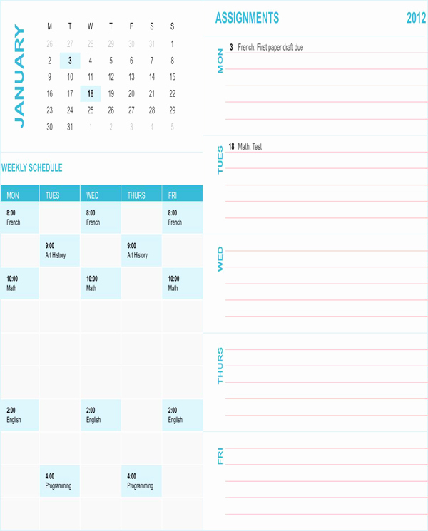 Student Weekly Schedule Template Unique Download Student Weekly Schedule Template for Free