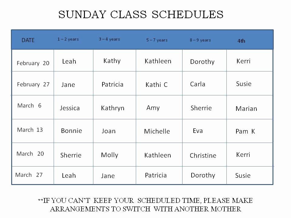 Sunday School Schedule Template Best Of Gospel Outreach Of Olympia Sunday School Sunday School