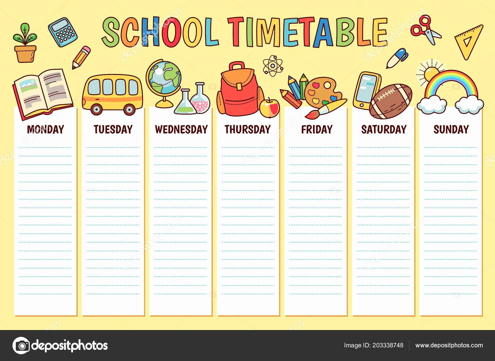 Sunday School Schedule Template Fresh Timetable Elementary School Weekly Planner Template