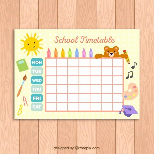 Sunday School Schedule Template Inspirational Leuk Schoolrooster Sjabloon Voor Kinderen Vector