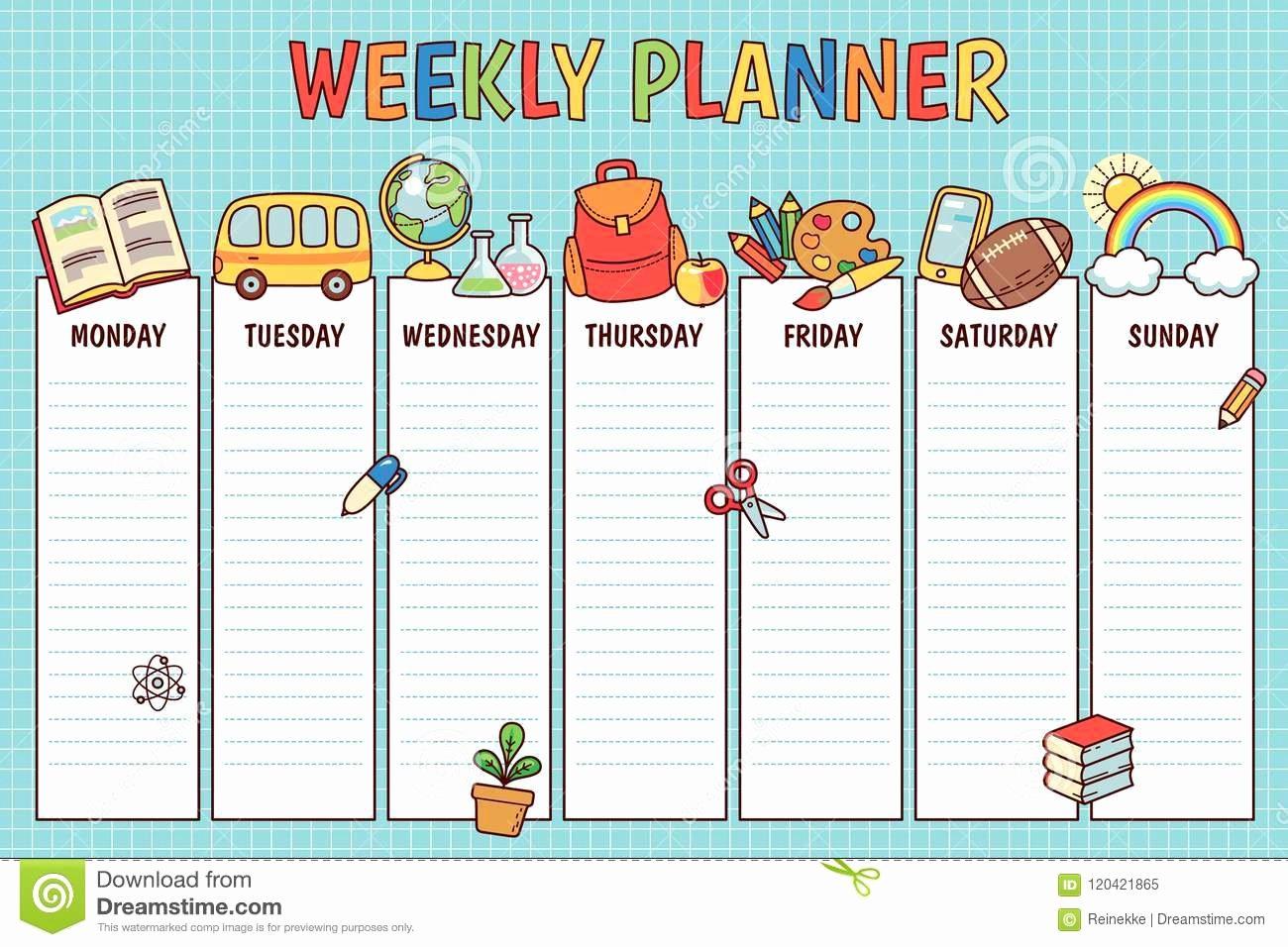 Sunday School Schedule Template New School Weekly Planner Stock Vector Illustration Of Kids