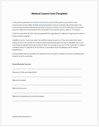 Surgical Consent form Template Lovely Medical Consent form Template Ms Word