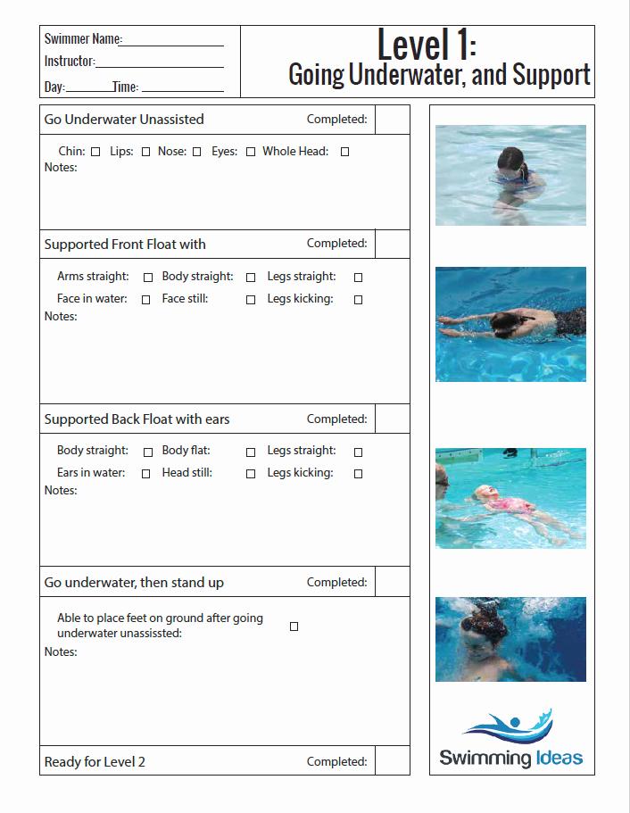 Swim Lesson Plan Template Beautiful Level 1