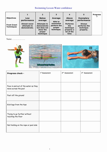 Swim Lesson Plan Template Beautiful Swimming assessment Cards by Kierondes1