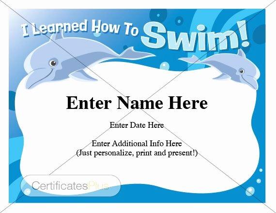 Swim Lesson Plan Template Lovely Swimming Certificate Child Certificate Kid Certificate