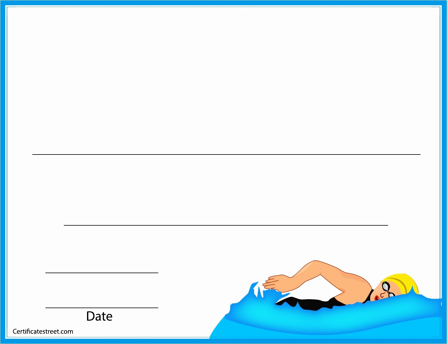 Swim Lesson Plan Template New Swim Lesson Certificates Basic Blank Swimming Certificate