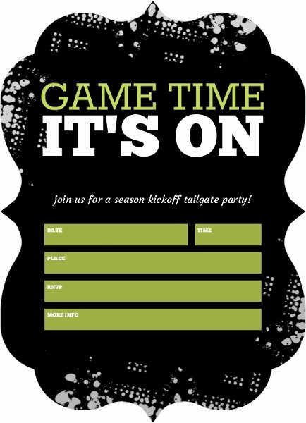 Tailgate Party Invitation Template Awesome Black Tailgate Fill In the Blank Football Party Invitation