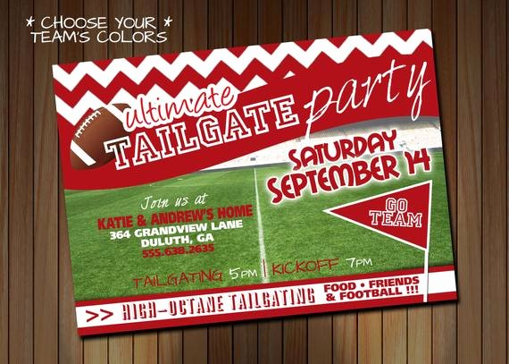 Tailgate Party Invitation Template Awesome Tailgating Party Invitation or Birthday Party Invitation