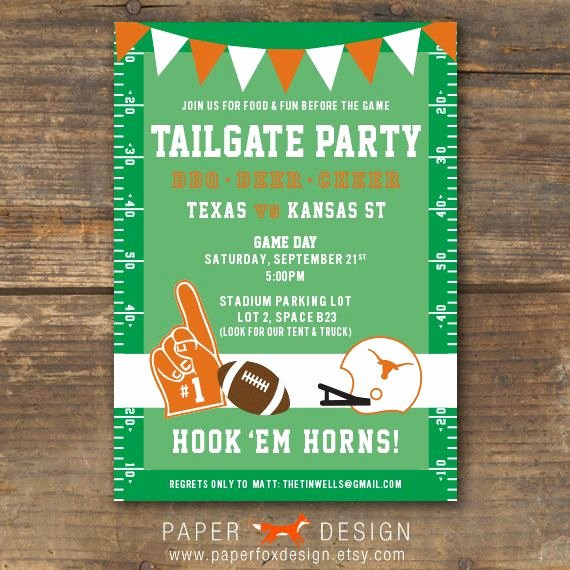 Tailgate Party Invitation Template Lovely Football Tailgate or Watching Party Invitation Ut