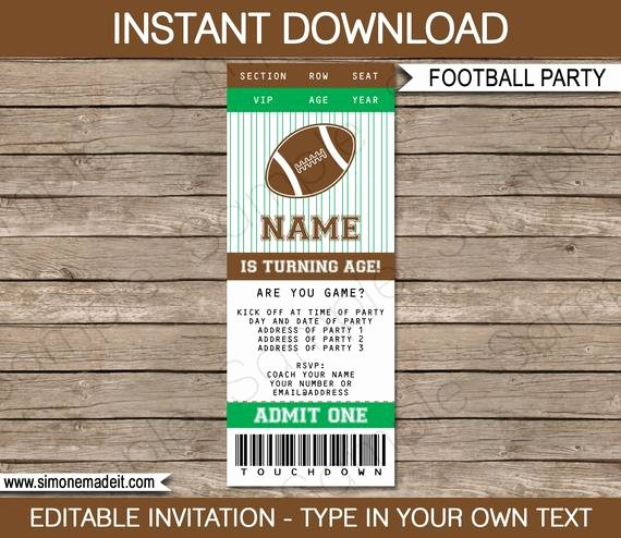 Tailgate Party Invitation Template Luxury Football Ticket Invitation Template Birthday Party