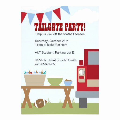 "Tailgate Party Invitation Template New Tailgate Football Party Invitation 5"" X 7"" Invitation Card"