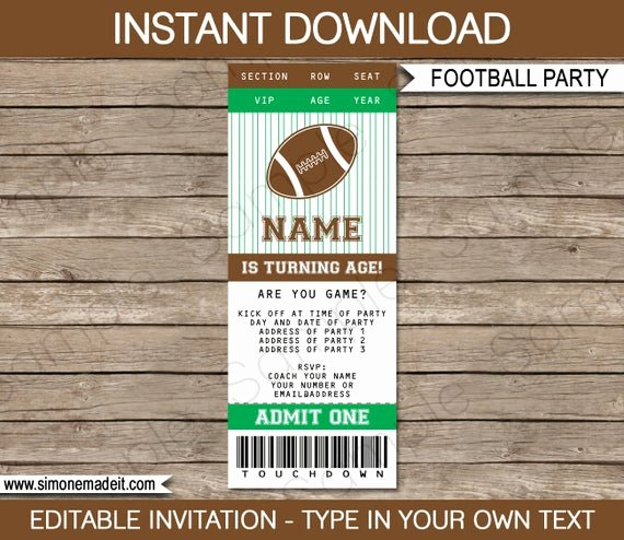 Tailgate Party Invitation Template Unique Football Ticket Invitation Template Birthday Party