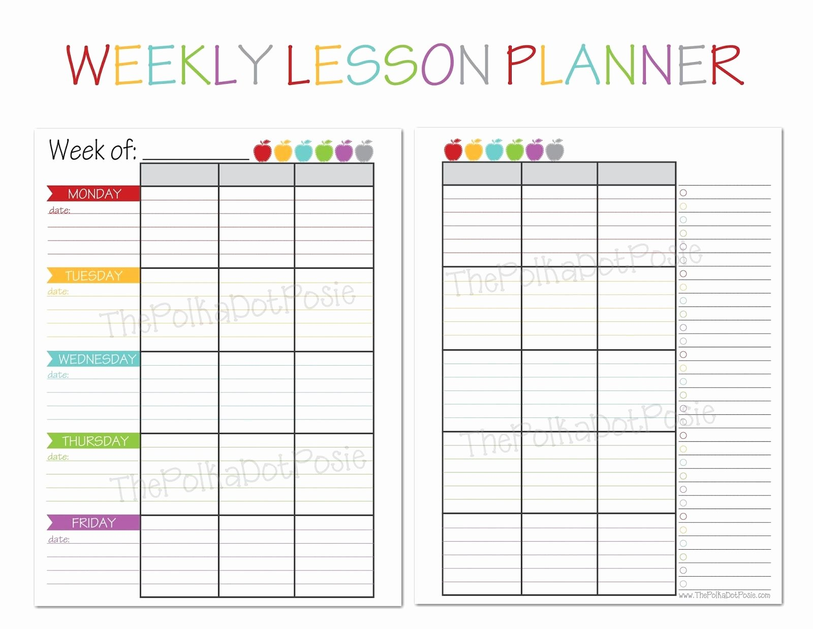 Teacher Daily Planner Template Fresh the Polka Dot Posie New Teacher & Homeschool Planners
