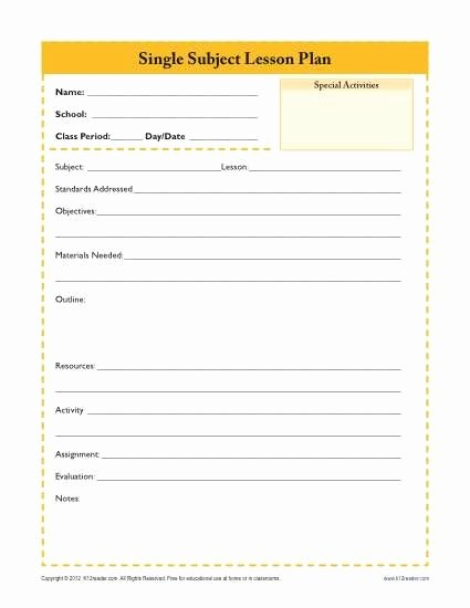Teacher Daily Planner Template Inspirational Daily Single Subject Lesson Plan Template Secondary