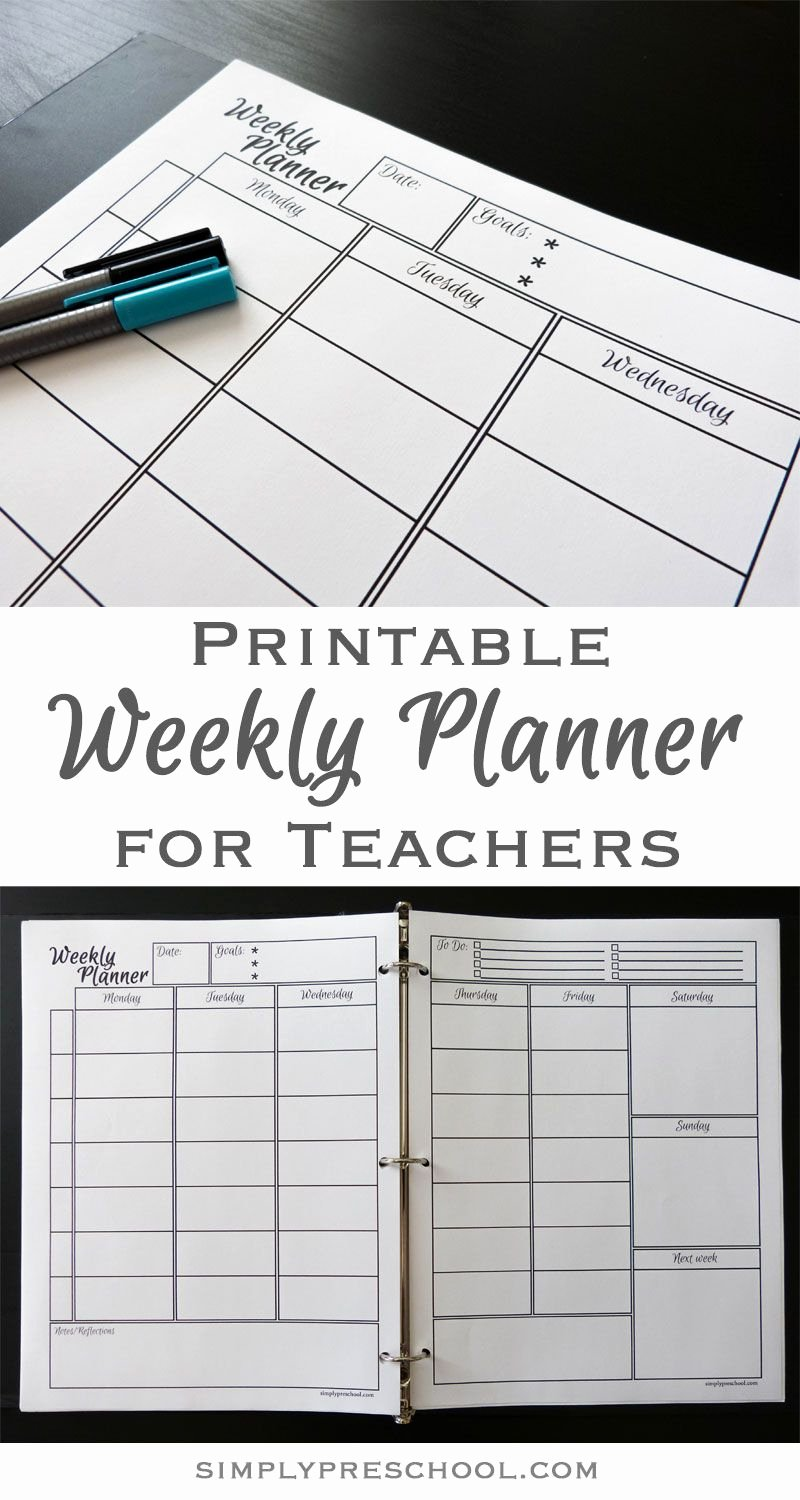 Teacher Day Plan Template Best Of Printable Weekly Lesson Planner – Simply Preschool