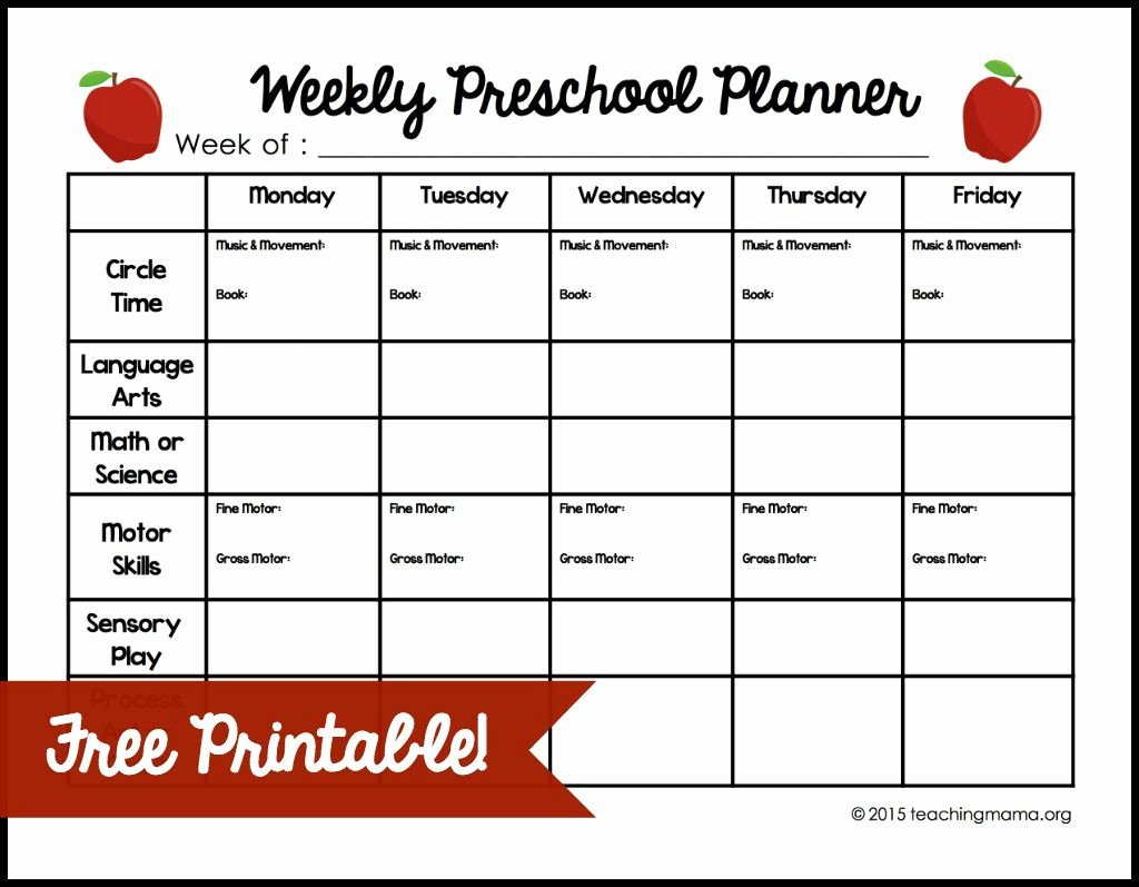 Teacher Day Plan Template Lovely Weekly Preschool Planner