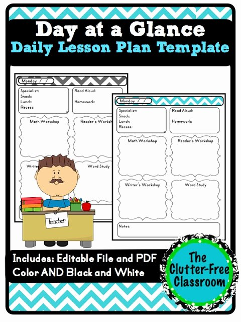 Teacher Day Plan Template New Day at A Glance Daily Lesson Planning Lesson Plan