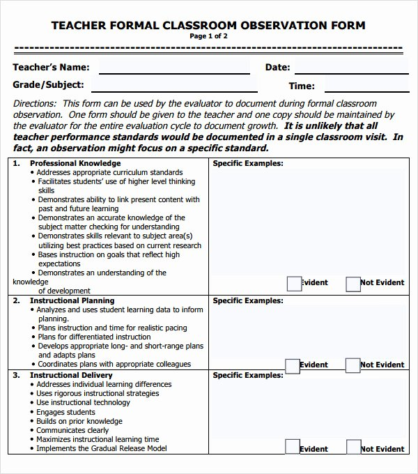 Teacher Evaluation form Template Beautiful Free 5 Sample Teacher Evaluation forms In Pdf