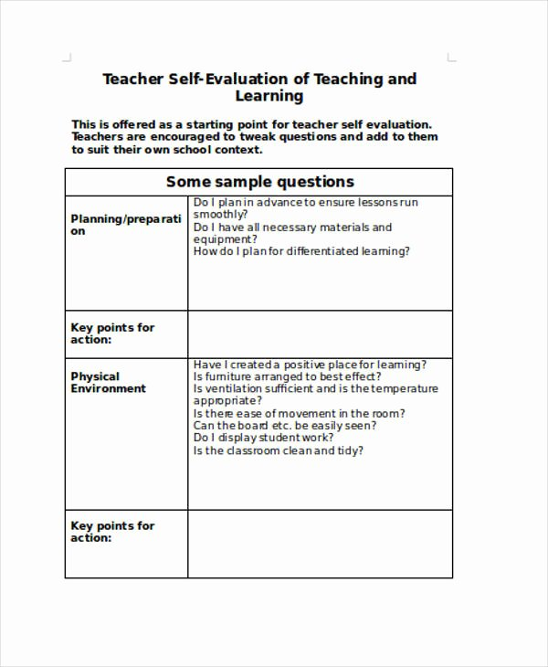 Teacher Evaluation form Template Fresh Free 30 Self Evaluation form Templates In Pdf