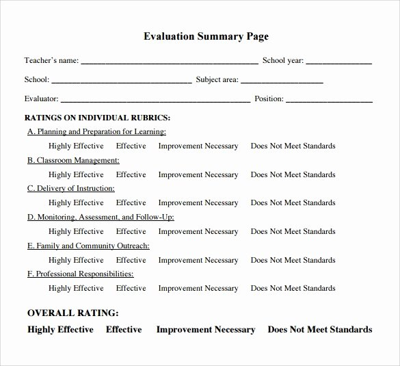 Teacher Evaluation form Template Fresh Free 7 Teacher Evaluation Samples In Word