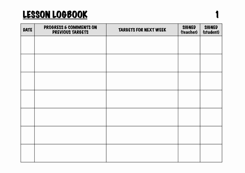 Teacher Lesson Plan Book Template Luxury Instrumental Lesson Logbook by Jamesreevell