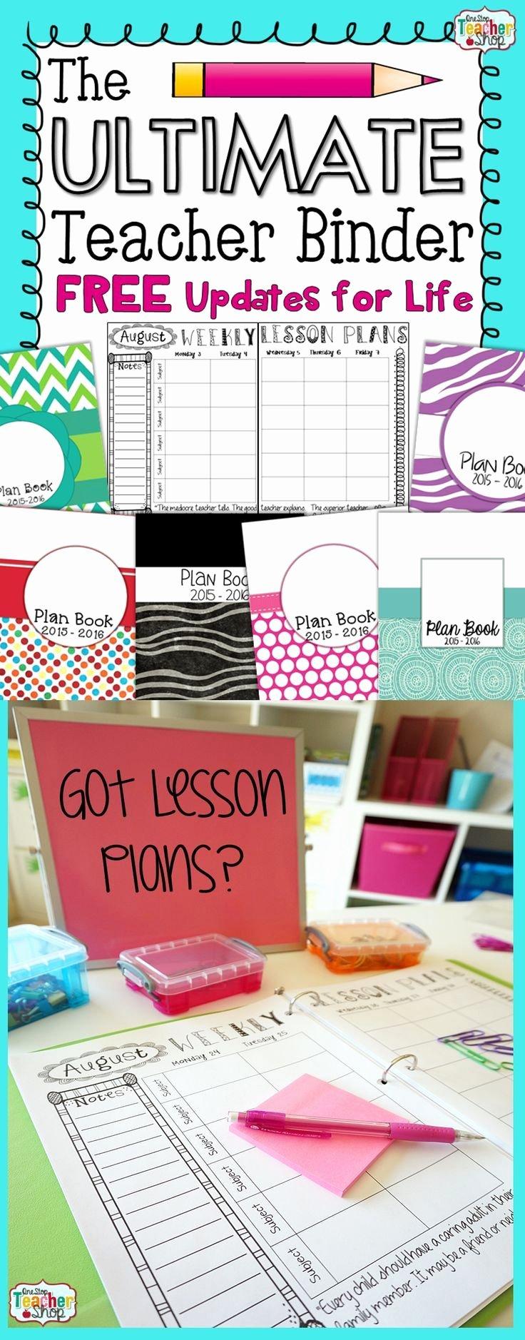Teacher Lesson Plan Book Template New Editable Teacher Binder